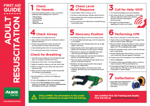 First Aid Guide Adult Resuscitation