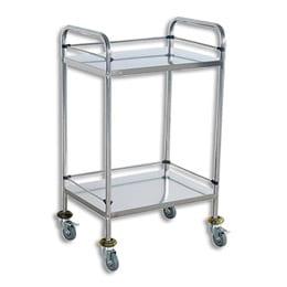 Medical Trolley Small Double Shelf 600x400x800mm