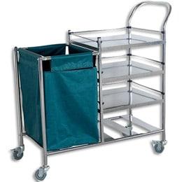 Medical Trolley Large Triple Shelf with Waste Bin 900x450x800mm